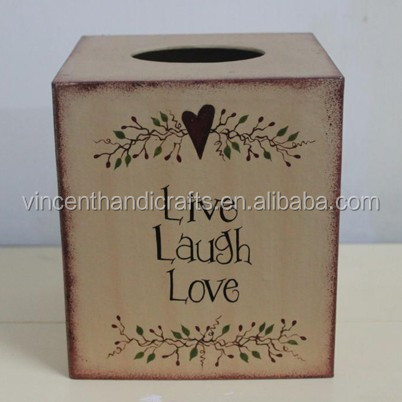 Country primitive antique paper tissue box for bathroom toilet kitchen office car, live, laugh, love tissue box
