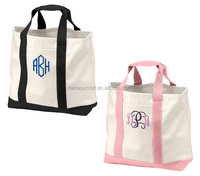 New arrival 6 colors monogram canvas tote bag large personalized boat canvas bags