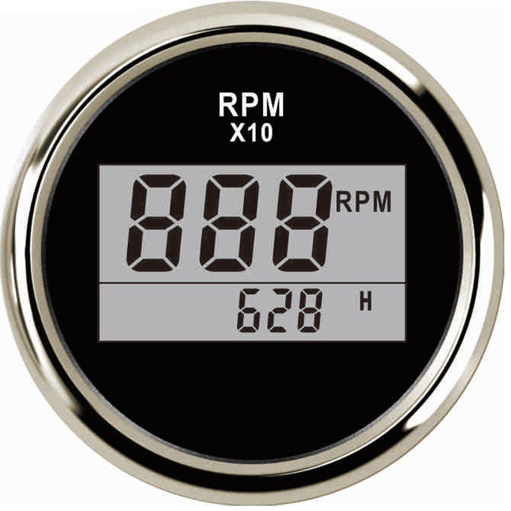 Samdo 85mm Waterproof 6000 RPM Tachometer Gauge with Clock for Marine Tachometer Car Truck Boat