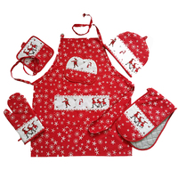 2018 new design Christmas design 100% cotton kitchen apron set apron