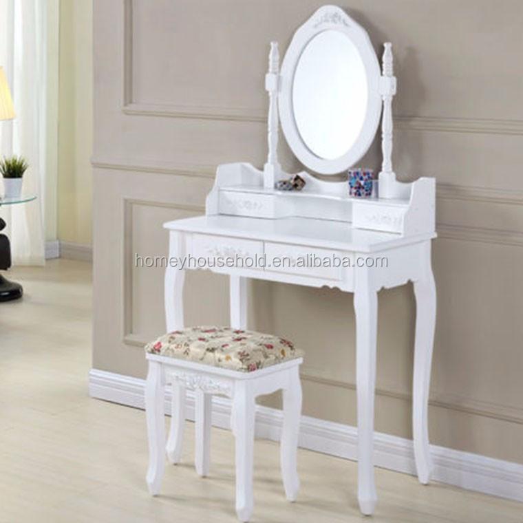 Coiffeuse Avec Miroir Chambre Bureau Avec Tabouret Blanc