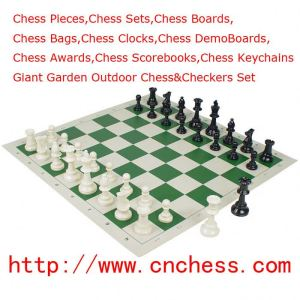 Tournament Standard Club Chess Set & Board With King Tall 3 3/4'' And 20''X20'' Board