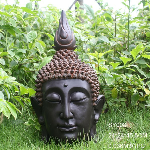 en fiber de verre pierre finition d coration de jardin religieuse statue t te de bouddha statues. Black Bedroom Furniture Sets. Home Design Ideas