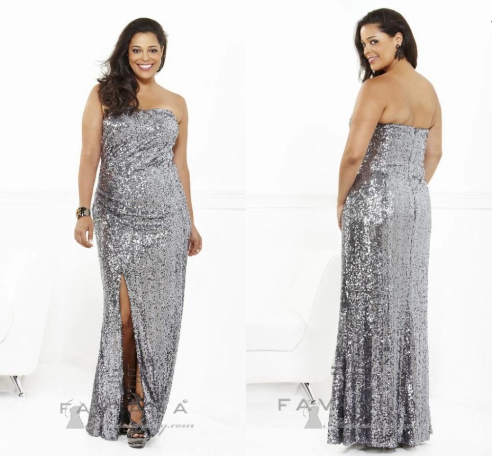 Plus Size 2015 Strapless Silver Sequin Prom Dresses Sheath ...