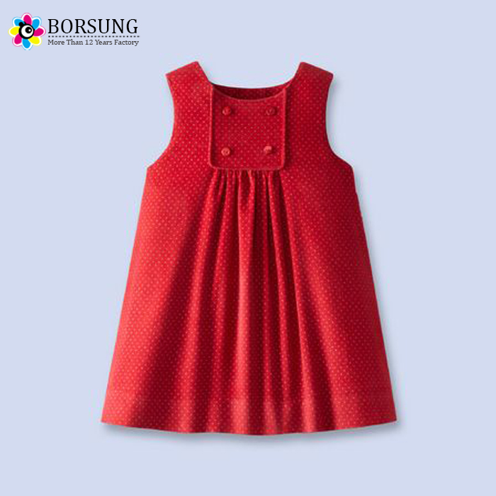 e7a9ab3ba5c86 Children Latest Frock Designs Autumn\Winter Girls Red Corduroy Dot Dress  For Kids Clothes