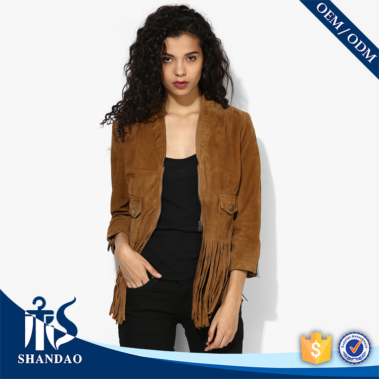 2017 Shandao New Popular Design Zip Cuffs Three Quarter Sleeve Fringed Hem Solid Color Women Fashion Jacket