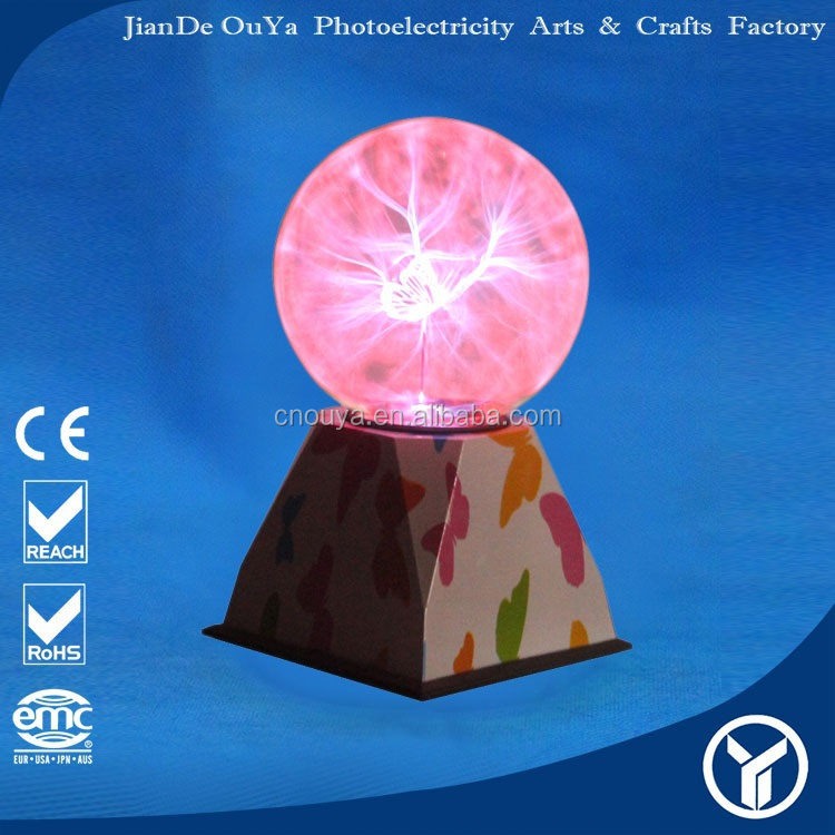 "High Quality lightning lamp 5"" Butter-fly Cubic Trasfer Plasma ball"