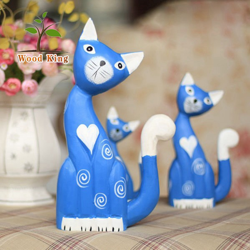 North European Wood Carving Animal Blue Home Decoration Modern Household Decorations Cat Decorate