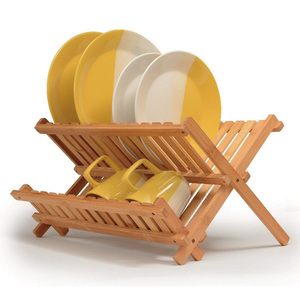 Collapsible Bamboo wooden dish drying rack