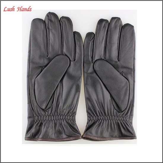 Men's leather gloves with fashion button wrist gloves,fashion style