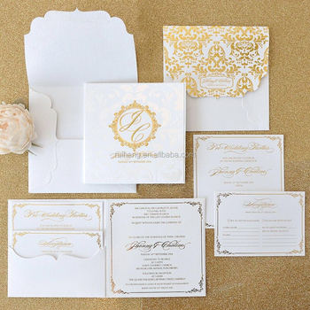 White And Gold Hardcover Wedding Invitation Folio With Respose Card Box Embossed Squared