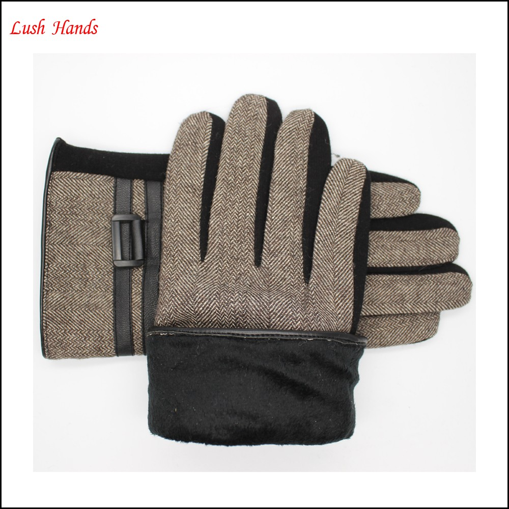men's warm gloves made by spandex velvet and Herringbone grid cloth with buckle
