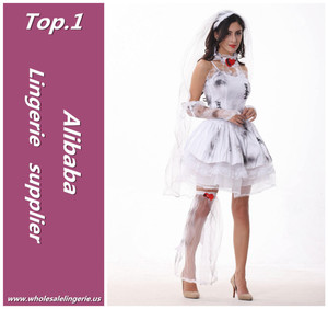 Top quality fancy lace hem puffy halloween costumes white dress cosplay zombie bride