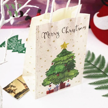 Christmas tree printing best sale kraft paper shopping gift bag with handle