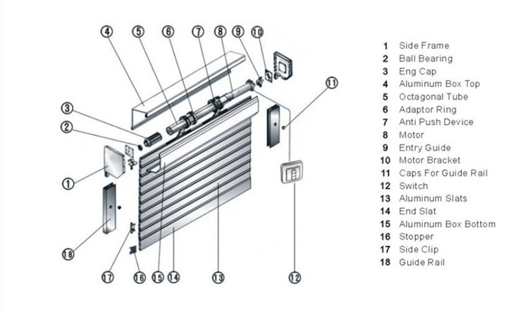 Steel Garage Door Parts Rolling Up Door Electric