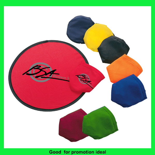 Promotional logo printed cheap 190T nylon foldable cloth frisbee