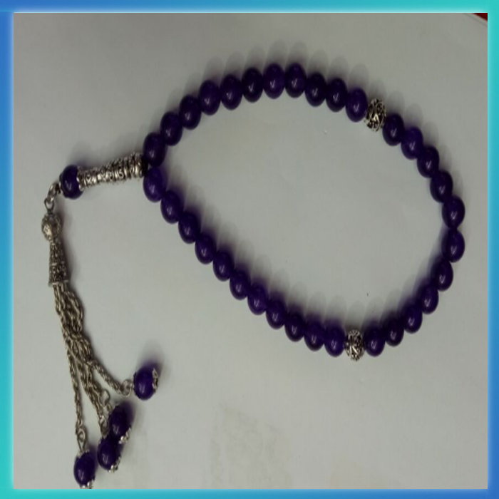Custom made colorful natural purple jade muslim prayer beads bracelet wholesale from guangzhou factory