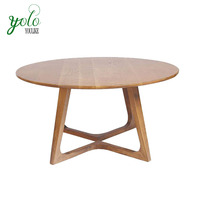 Antique round bamboo wood tea coffee table