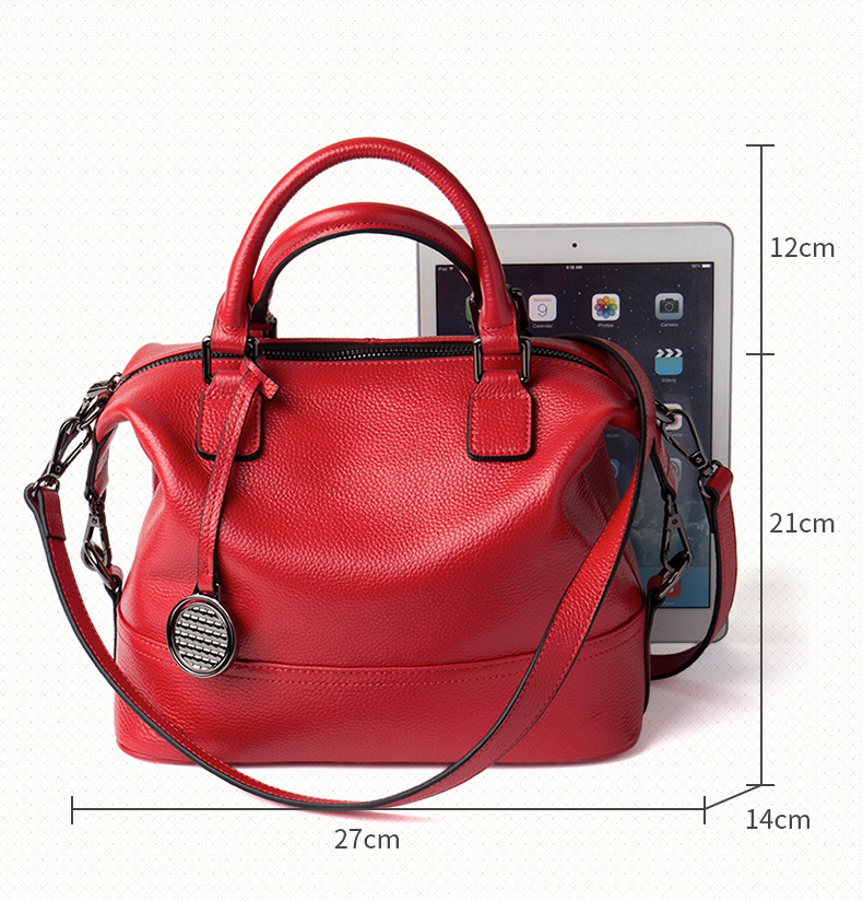 New Style Red Color Lady Genuine Leather Women Shoulder Hand Bags