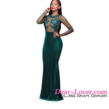 a42af37fa481 Hot Green Long Sleeve Lace Mesh Mermaid Girl Party Wear Western Dress