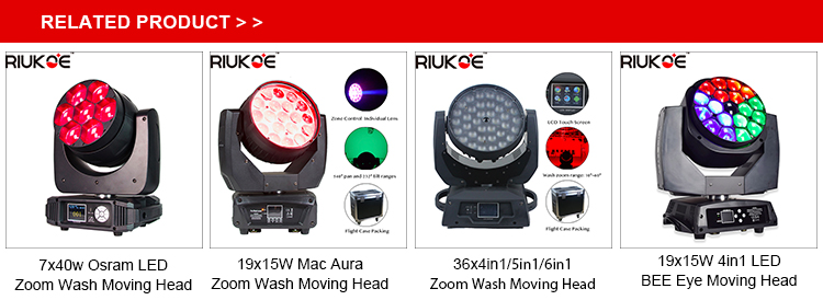 dj led stage light beam zoom wash dmx RGBW dmx 19x15w aura moving head led