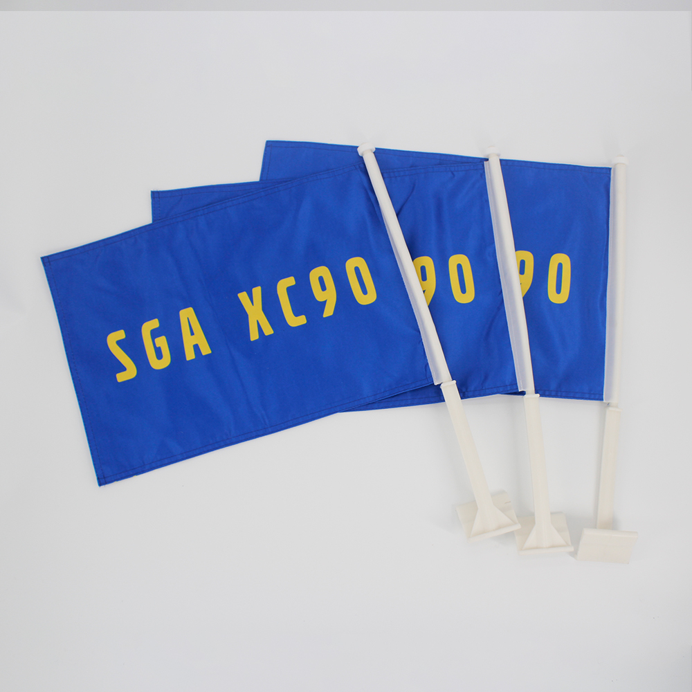 8fea48fe68849 Fresh New Material made EN standard car flags with strong pole can be  customized sport team car window flags