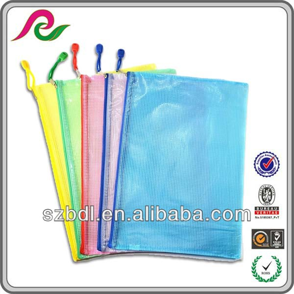 Plastic waterproof kinds office clear file bag with zipper