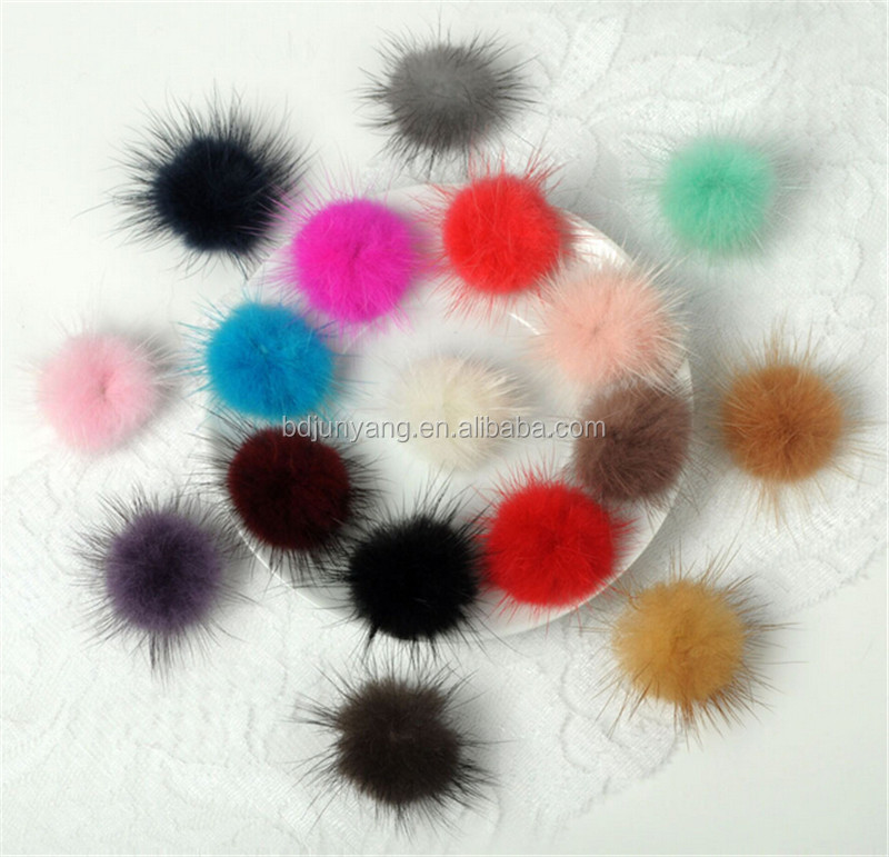 small fur pom pom for earring shoes reak mink fur ball furry ball