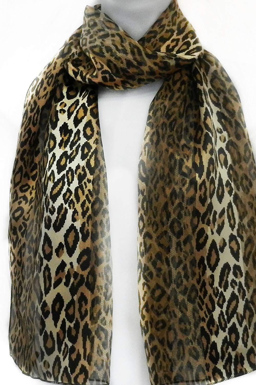 Imagine If… Silk Feel Scarf- Animal Print- Leopard Browns & Black