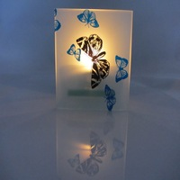 colored glass candle holders, butterfly votive candle holders