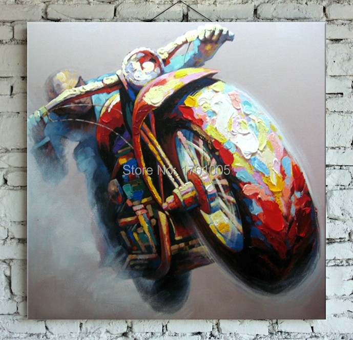 Handpainted Cool Motorcycle Oil Painting on Canvas Abstract Oil Wall Art for Home Decoration and Decoration Gift Free Shipping