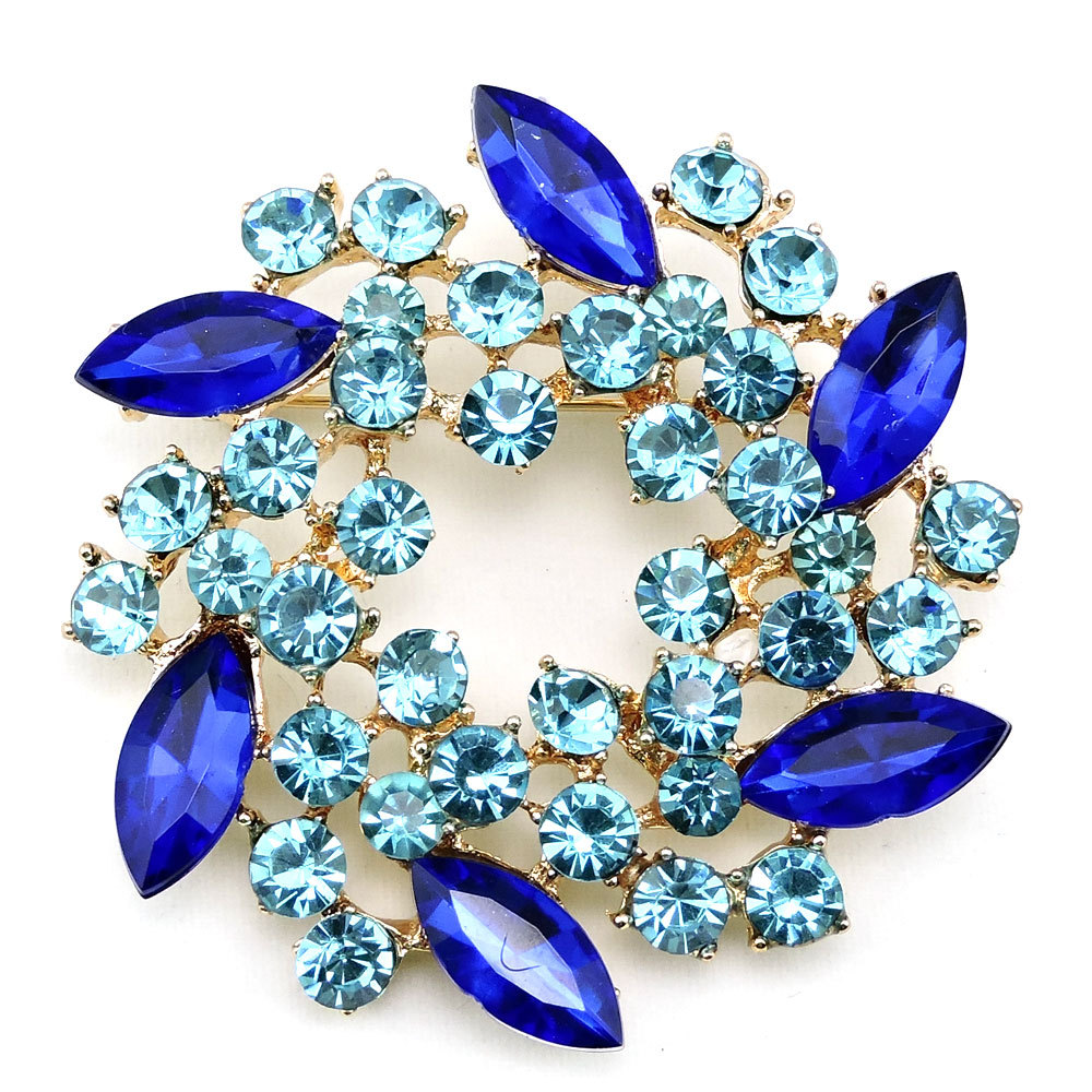 Vintage Blue Crystal Rhinestone Flower wholesale Brooch Pins for women,Multicolor Cute Fashion Leaf Girls Brooches in bulk KX001