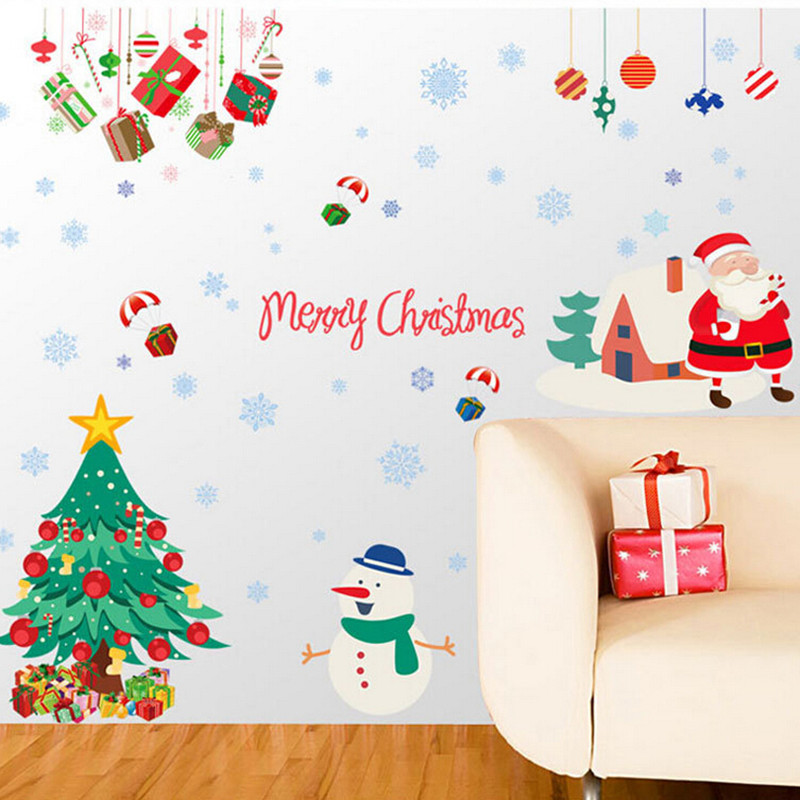 Hot Sale New Year Christmas Decoration Wall Stickers Removable Pvc  Home Wall Decor Christmas Decorations For Home