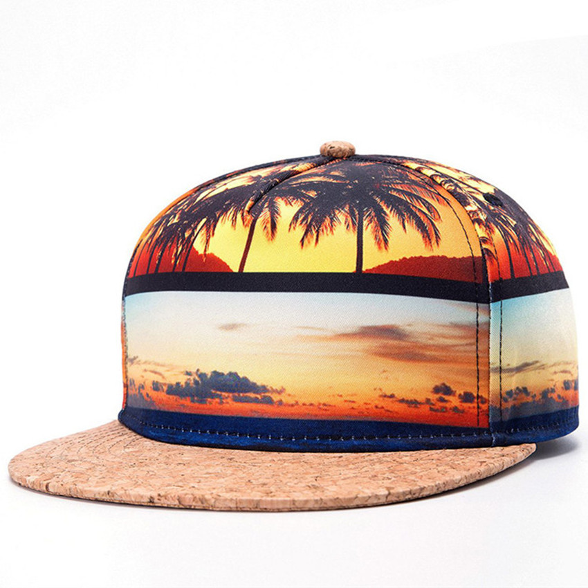 Summer Style Snapback Gorras Hat Bon Flat Brimmed Baseball Cap 3D Print Beach Adjustable Hip hop Trucker Bone Caps