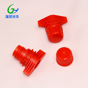 colorful plastic-red screw suction nozzle with cap for doypack use