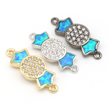 Diy Popular Opal Material Accessories Micro Paved Candy Connector Bracelet Link Finding