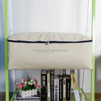 Cotton Canvas Foldable Under Bed Storage Bags For Comforters Blanket Bedding Duvet