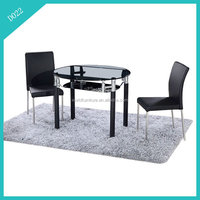 round glass extendable rotating dining table
