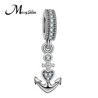 925 Sterling Silver Ocean Clear CZ metal anchor charm for bracelets