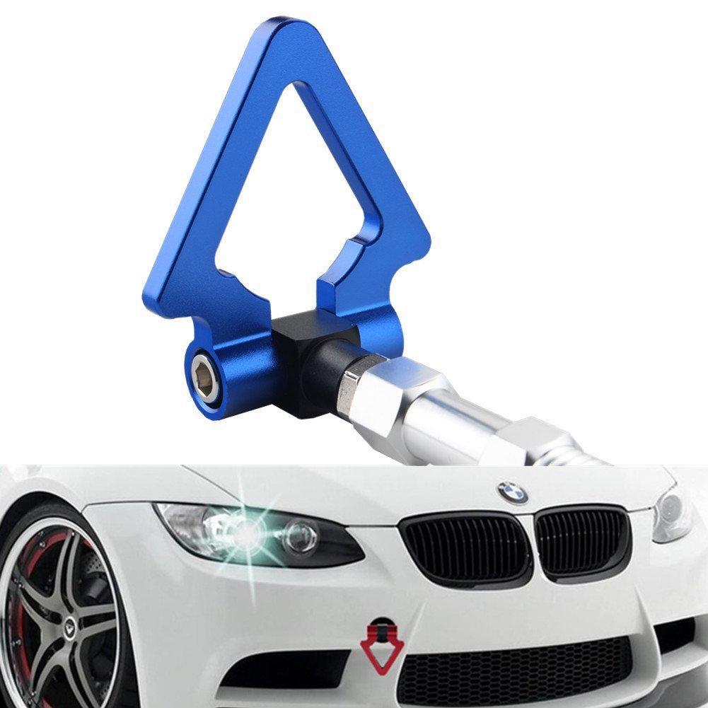 Dewhel Screw On Aluminum Front Rear Bumper racing style Folding tow hook for BMW F22 F30 F32 F10 F25 F26 F15 2 3 4 5 Series i3 X3 X4 Z4 and MINI Cooper F55 F56 R60 R61 (Blue-Triangle)
