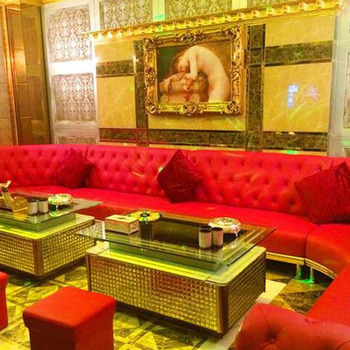 Red Leather Sofa Luxury Hotel Sofa for KTV Club