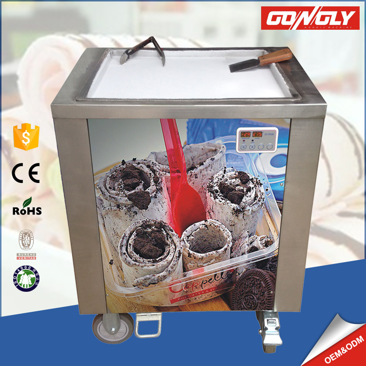 luxury move fried ice machine in China Guangzhou single pan fried ice cream roll machine