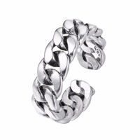925 Thai Silver Personality Unisex Ring Unique Cross Link Chain Design Cheap Fashion Jewelry For Young Girls Adjustable Ring