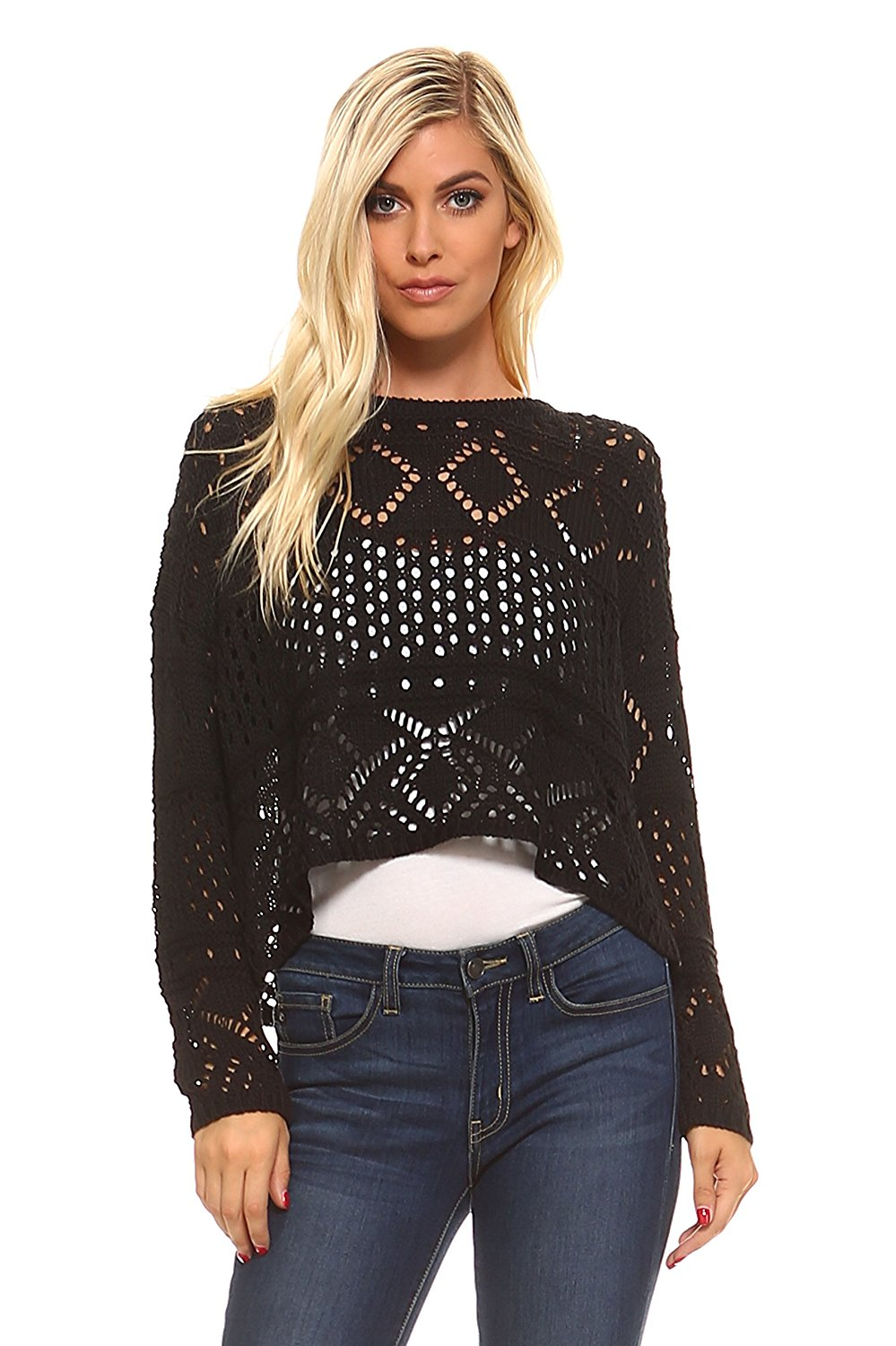8390264e6fb Get Quotations · Marcelle Margaux Cable Knit Crochet Crop Sweater