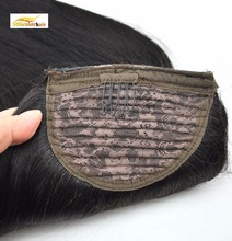 Ponytail Hair Extensions Natural Black Silky Straight with clips