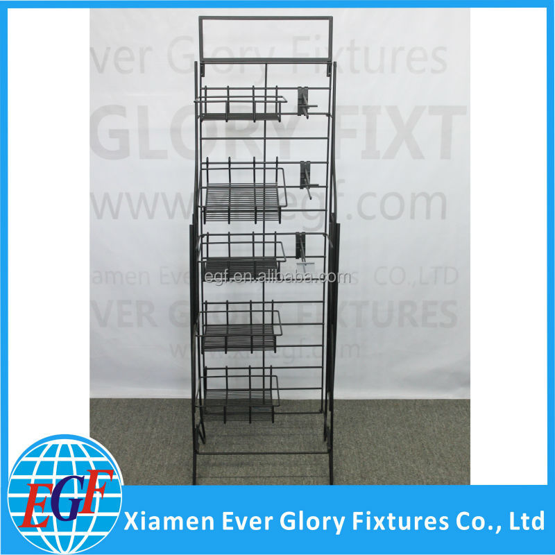 Adjustable Baskets and Hooks Wire Floor Stand Display Metal Folding ...