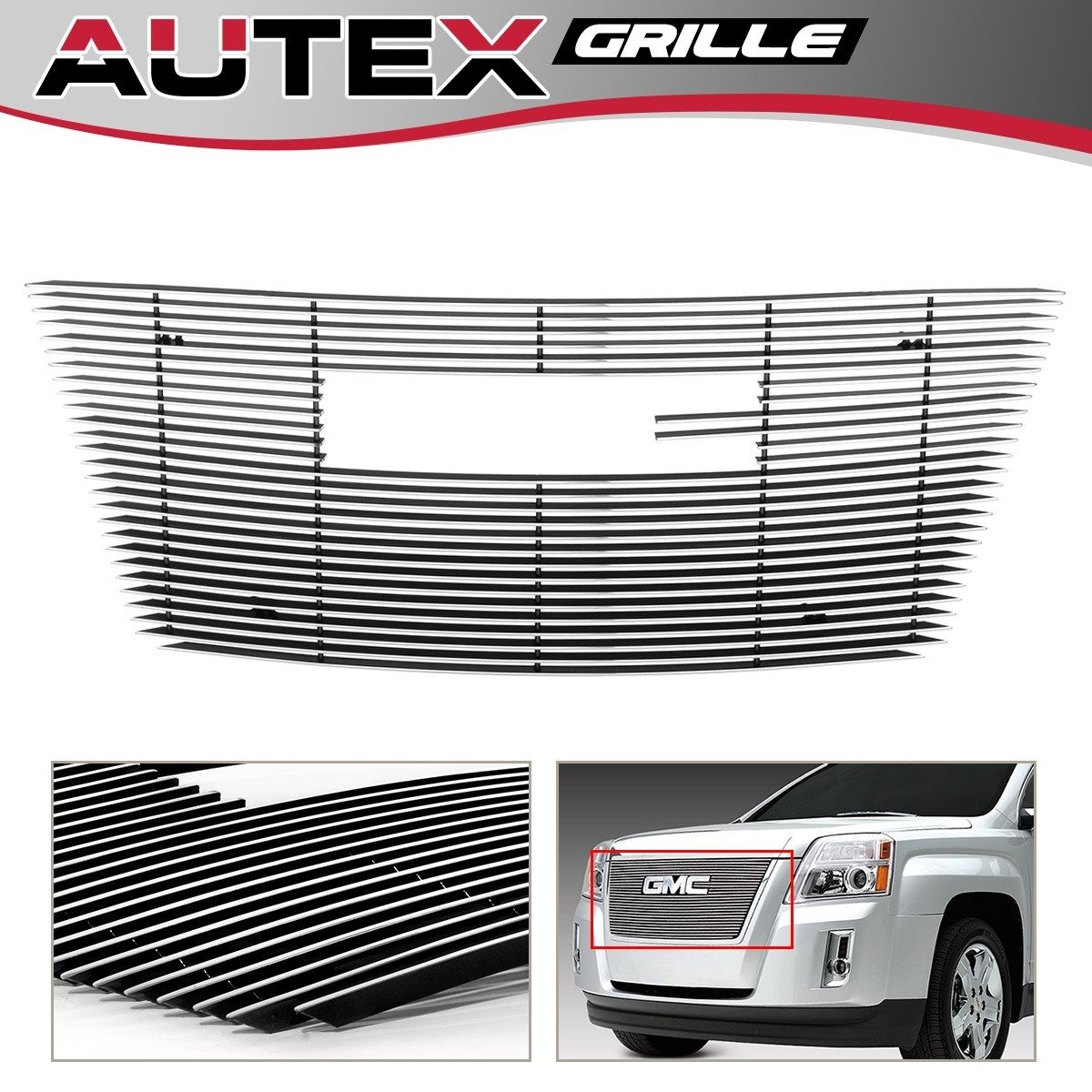 AUTEX Chrome Main Upper Horizontal Billet Grille Insert Compatible with GMC Terrain 2010 2011 2012 2013 2014 2015 Grill with Logo Show G66743A