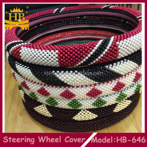 High class wooden bead car steering wheel cover for girl