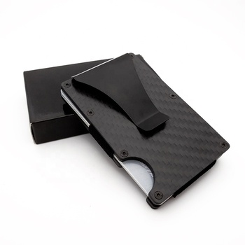 Wholesale rfid money clip wallet carbon fiber card holder