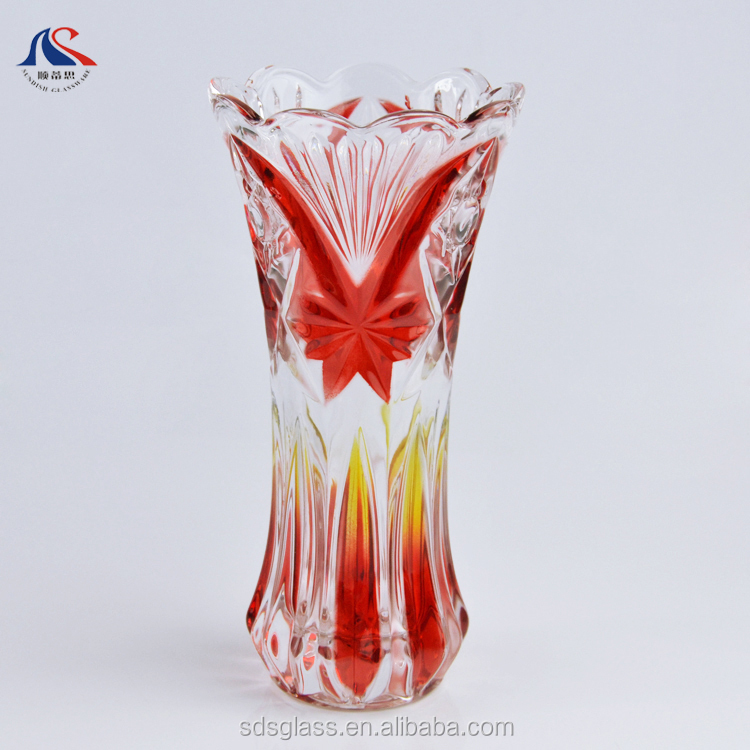 Customized Brand Name Printing Modern Design Glass Vases Decorative for Hotel
